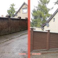 Restaurierte Mauer vorher/nachher